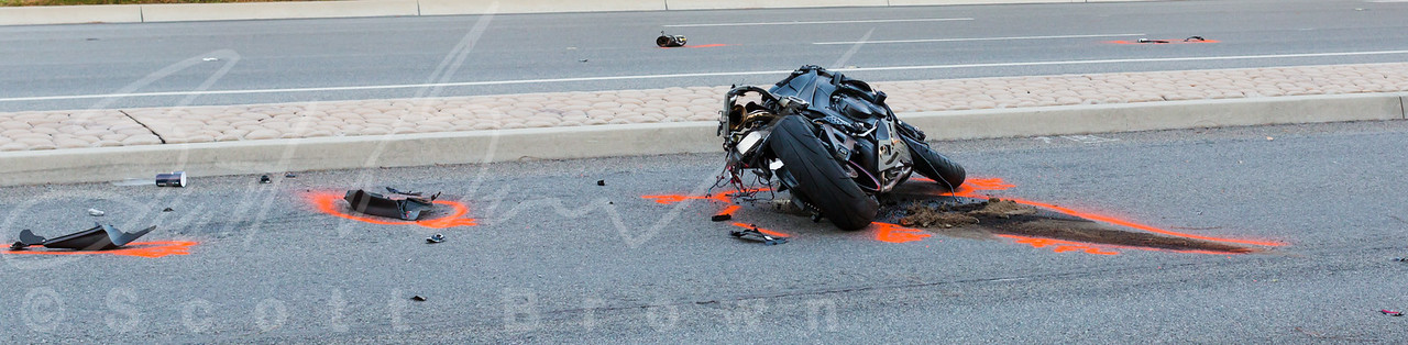 Close up of the motorcyclist's bike.